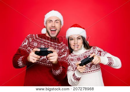 December Noel, Funky, Happiness, Carefree Mode. Excited Married Couple In Knitted Traditional X Mas