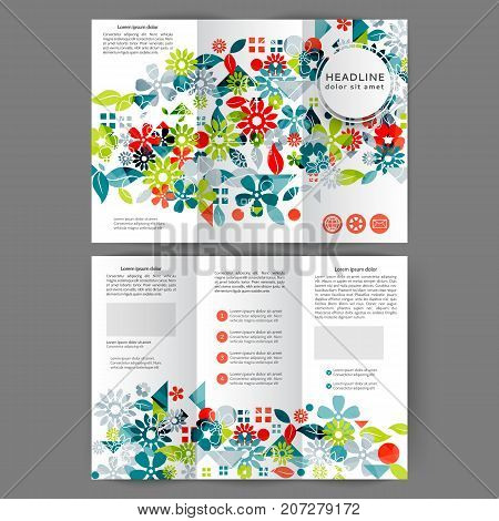 Color tri fold business brochure design with abstract floral background