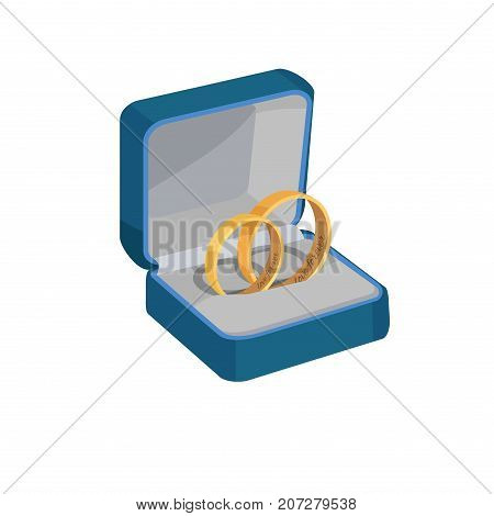 Pair of gold wedding rings with Love Forever engravings in open blue box isolated vector illustration on white background.