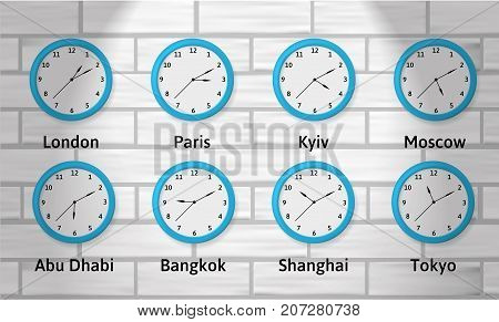 Time Zones Wall Clock Illustration. Global time. Clocks showing different time zones. Objects on a brick background.
