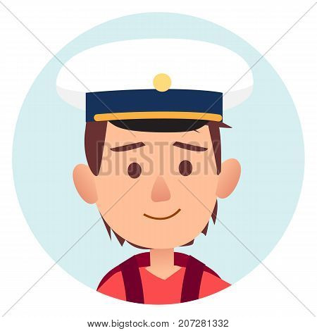 Future mariner portrait of young happy boy in peakless cap isolated vector illustration avatar userpic. Male kid in cute cap