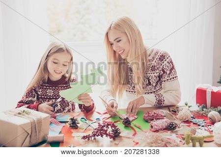 Little, Lovely, Cheerful Blonde Princess With Her Mommy Are Doing Handcraft Activity. Desktop Full O