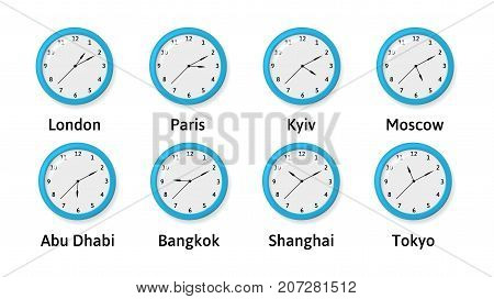 Time Zone Wall Clocks Illustration. International time. Clocks displaying several time zones.