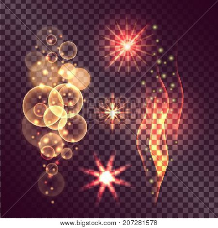 Vector illustration of fading star, multiplied circles and burning radiance. Concept of twinkle actions on transparent background.