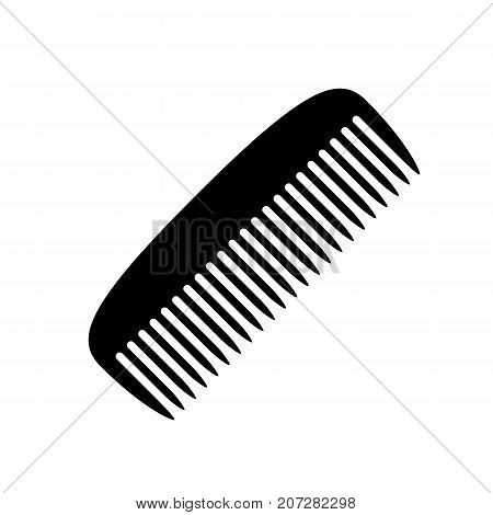 Comb icon. Black minimalist icon isolated on white background. Comb simple silhouette. Web site page and mobile app design vector element.
