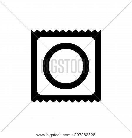 Condom icon. Black minimalist icon isolated on white background. Condom simple silhouette. Web site page and mobile app design vector element.