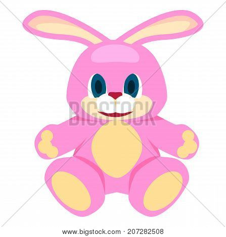 Adorable pink big soft bunny with blue eyes and red nose isolated on white background. Cute fluffy toy rabbit vector illustration.