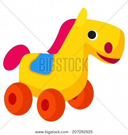 Plastic colorful horse toy on red wheels isolated on white. Close up vector illustration of cute plaything animal for children