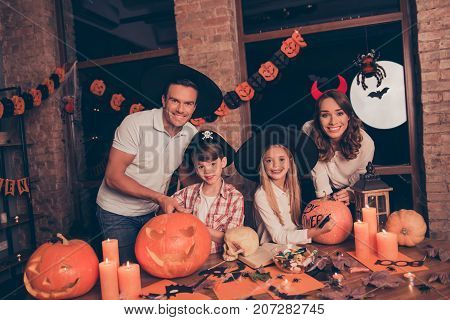 Four Adorable Relatives Mommy, Dad With Two Small Kids And Hand Drawn Textured Pumpkin, Teaching The