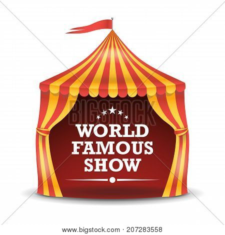 Realistic Circus Tent Vector. Red And Yellow Stripes. Cartoon Big Top Circus Tent Illustration