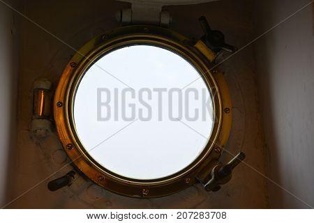 Porthole From The Inside On A Ship