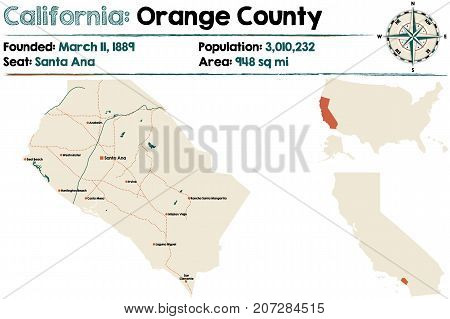 Large and detailed map of California - Orange county