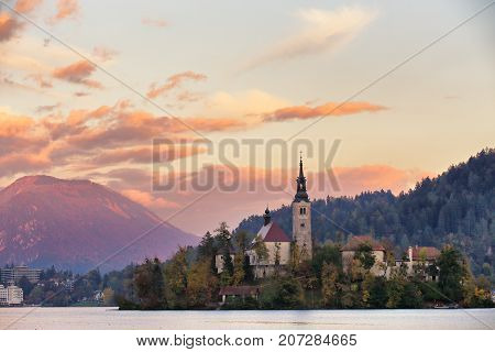Picturesque Slovenia, Bled Lake And Town In The Evening