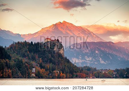 Picturesque Slovenia, Bled Lake And Town At Sunset.