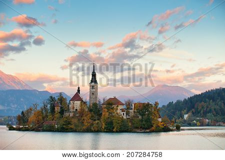 Picturesque Slovenia, Bled Lake And Town In The Evening.