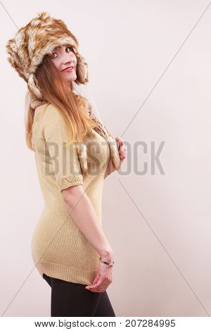 Winter Woman In Warm Clothing Fur Cap