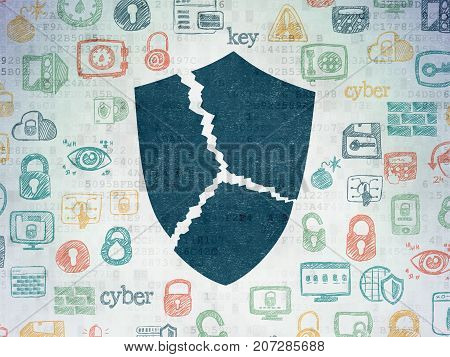 Protection concept: Painted blue Broken Shield icon on Digital Data Paper background with  Hand Drawn Security Icons