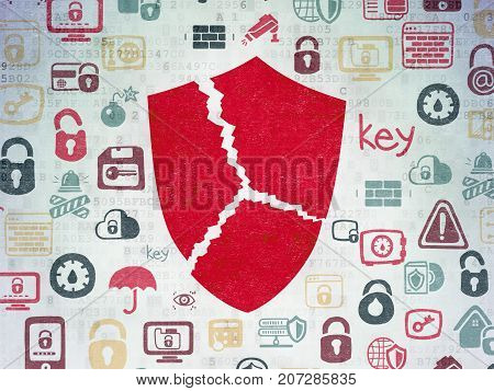 Safety concept: Painted red Broken Shield icon on Digital Data Paper background with  Hand Drawn Security Icons
