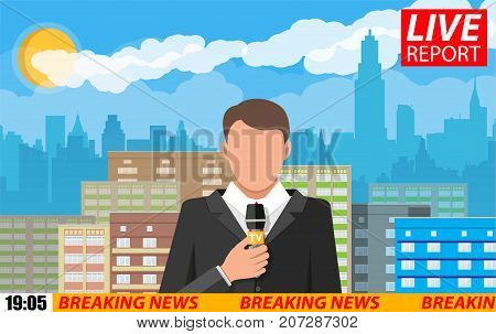 News announcer in the studio. Cityscape with buildings, clouds, sky, sun. Journalism, live report, breaking hot news, television and radio casts concept. Vector illustration in flat style