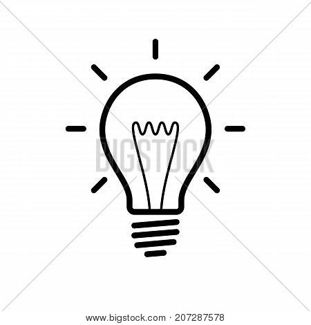 Light bulb icon. Black minimalist icon isolated on white background. Light bulb simple silhouette. Web site page and mobile app design vector element.