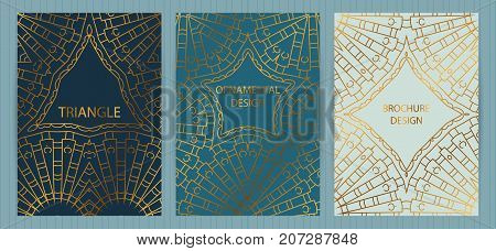 Set Of Ethnic Covers, Hand Drawn Golden Patterns, Colorful Backgrounds. Vector Templates For Restaur