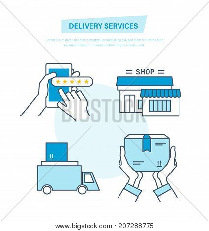 Full cycle of ordering, payment, purchase of goods, delivery, transportation of products, distribution, leaving feedback and recommendations per work. Illustration thin line design of vector doodles