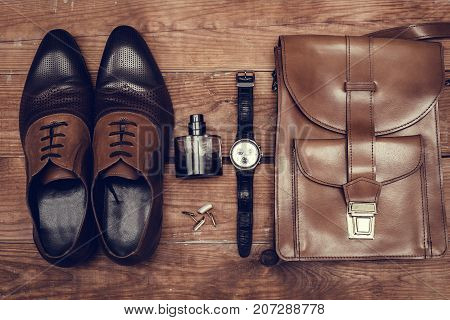 Men's accessories. Top view. Classical fashion style.