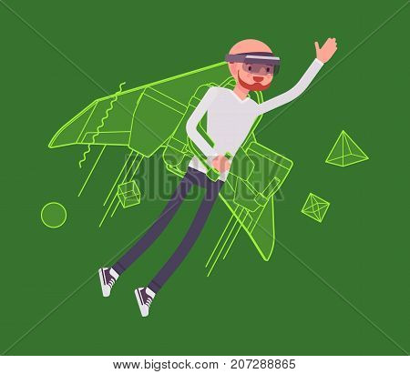 Augmented reality man jetpack flying. High interactive sky viewing, escaping from the real world, fantasy flight. AR and entertainment concept. Vector flat style cartoon illustration