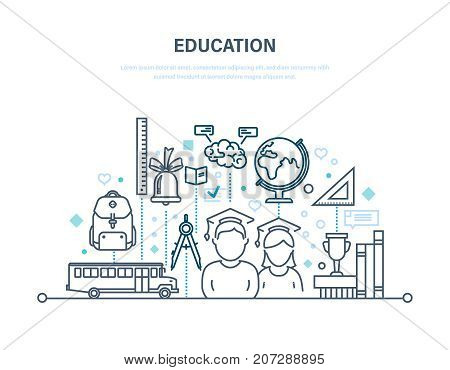 Education concept. Training, distance learning, knowledge, teaching. Transportation of children, students, development of memory and thinking. Illustration thin line design of vector doodles.