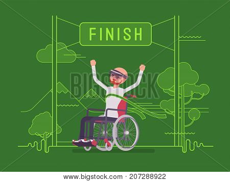 Augmented reality man wheelchair user winning. Advanced technology to enrich the lives of disabled people. AR and entertainment concept. Vector flat style cartoon illustration