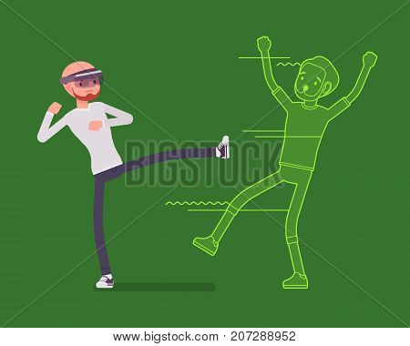 Augmented reality man fighting. Real kicking, engage in a martial arts fight, sport experience, cyber interaction with champion. AR and entertainment concept. Vector flat style cartoon illustration