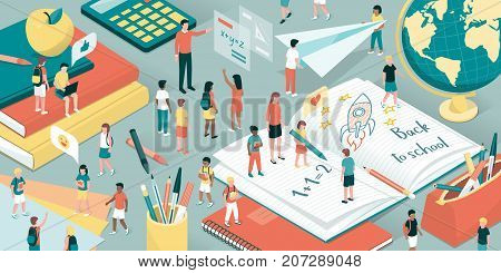 Children playing and learning with their teachers school supplies and books: back to school and education concept
