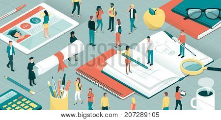 College and university students researchers and professors studying together school supplies and digital tablet: education and research concept