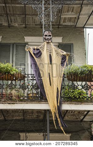 Halloween decorations on a balcony in New Orleans