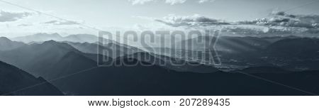 Mountains Landscape Panorama, summer in Austria Alps