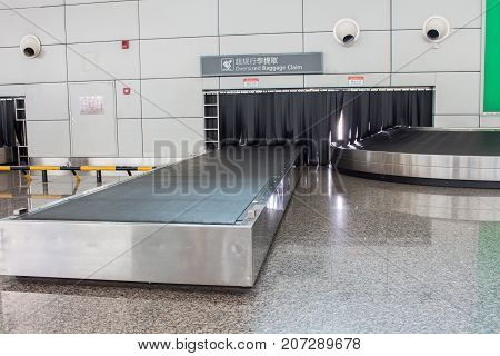 The Conveyor belt baggage system inside airport