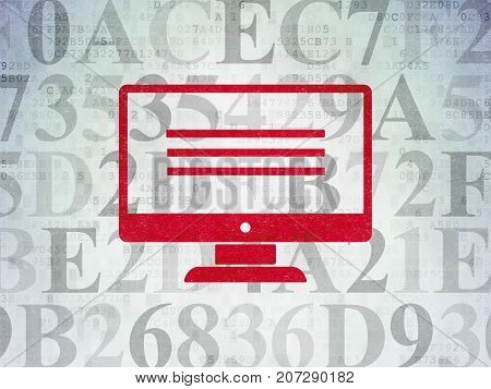 Web development concept: Painted red Monitor icon on Digital Data Paper background with  Hexadecimal Code