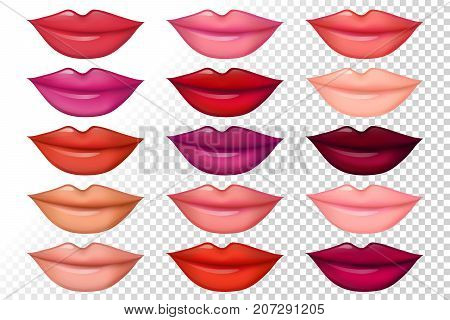 Set of women lips with trendy lipstick colors. Shiny lip gloss: red pink violet purple corral nude beige. Vector illustration for web makeup booklet and posters fashion and beauty prints.