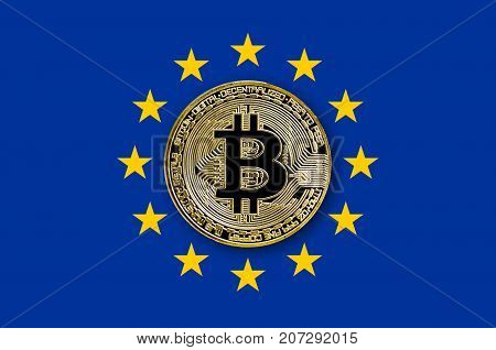 coin bitcoin on the flag of the European Union