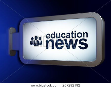 News concept: Education News and Business People on advertising billboard background, 3D rendering