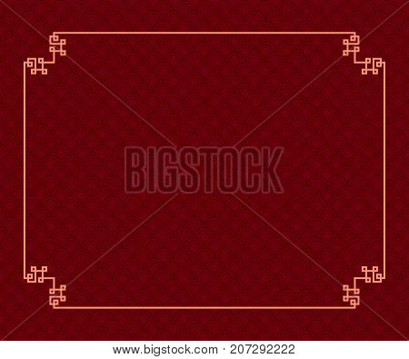 Abstract Japanese or Chinese line frame for decorative border on dark red traditional oriental wave pattern. Vector vintage illustration