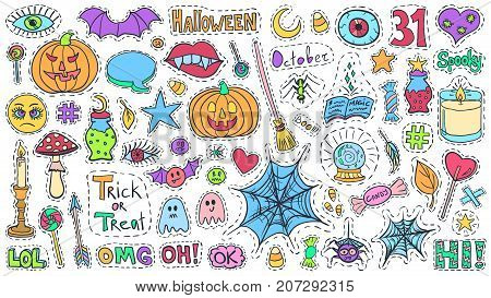 Halloween patch badges set. Holiday doodles vector. Halloween stickers. Sketch pins with pumpkins sweets witch tools ghosts and spiders. Social media emoticons and icons bundle.