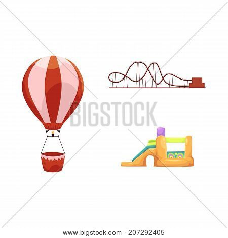 vector flat amusement park objects icon set. Children rubber inflatable playground, bouncy castle trampoline, roller coaster and hot air balloon. Isolated illustration on a white background.