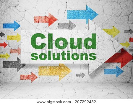 Cloud networking concept:  arrow with Cloud Solutions on grunge textured concrete wall background, 3D rendering