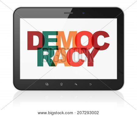 Political concept: Tablet Computer with Painted multicolor text Democracy on display, 3D rendering
