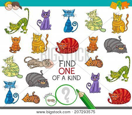 Find One Picture Of A Kind Game With Cartoon Cats