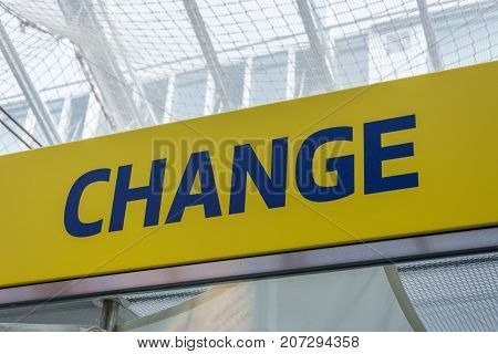 Blue And Yellow Change Sign To Change Money