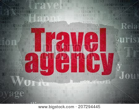 Travel concept: Painted red text Travel Agency on Digital Data Paper background with   Tag Cloud