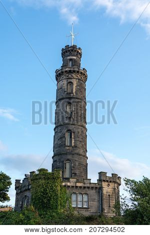 The Nelson Monument On Calton Hill In Edinburgh