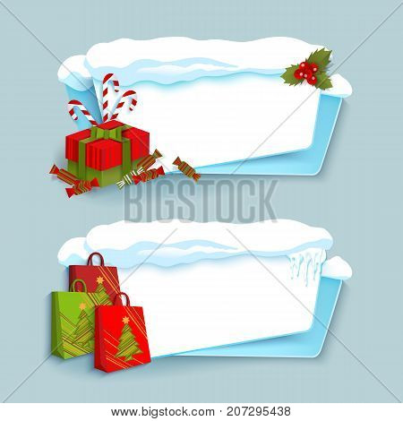 vector cartoon white, blue winter empty banner templates wit snow caps, icicles and christmas new year holidays symbols - paper shopping bags, present boxes set. Illustration on grey background.